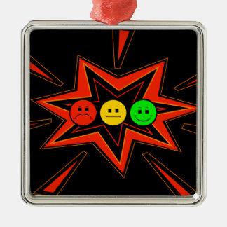 Knallender horizontaler schwermütiger Stoplight Silbernes Ornament