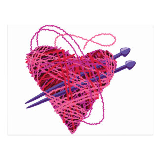 kniting rosa Herz Postkarte