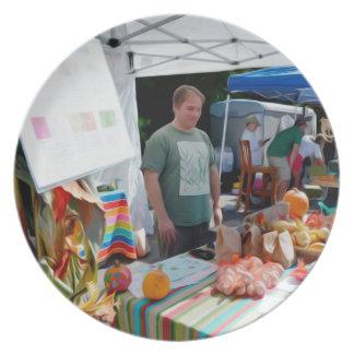 Knoblauch-Festival-Verkäufer 1 Melaminteller