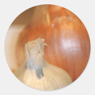 Knoblauch n Zwiebelaufkleber Runder Aufkleber