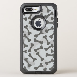 Knochen-Beschaffenheits-Muster Greyscale OtterBox Defender iPhone 8 Plus/7 Plus Hülle