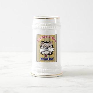 Knochen-Bierstein-Logo des Hundn in der Mitte Bierglas