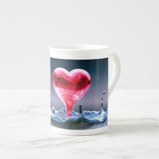 Knochen-China-Herz-Tasse Porzellantasse