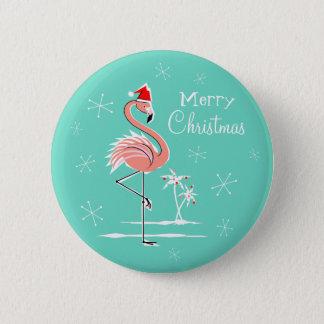 Knopf der Weihnachtsflamingo-frohen Weihnachten Runder Button 5,7 Cm