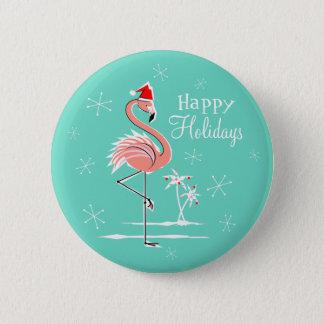 Knopf des Weihnachtsflamingos frohe Feiertage rund Runder Button 5,1 Cm