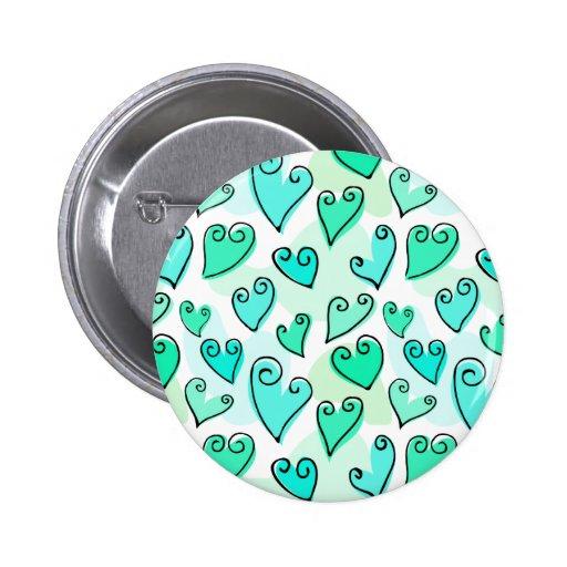 Knopf die Herzen des Spaß-Türkis-Valentinsgrußes Button