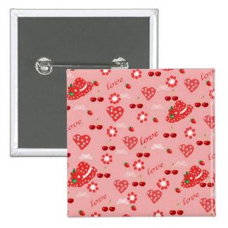 Knopf, Erdbeeren und Kirschen, Quadratischer Button 5,1 Cm