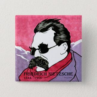 """Knopf """"Friedrich Nietzsche"""" Quadratischer Button 5,1 Cm"""