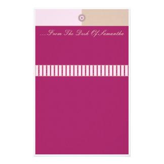 Knopf herauf Rosa und Wirble Streifen TANs Personalisierte Büropapiere