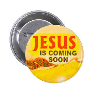 Knopf Jesus kommt bald Runder Button 5,1 Cm