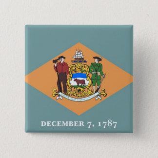 Knopf mit Flagge von Delaware Quadratischer Button 5,1 Cm