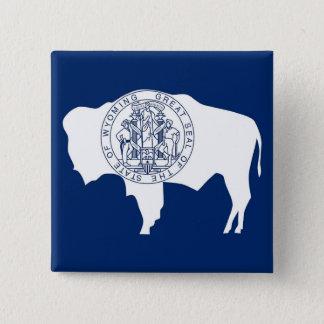 Knopf mit Flagge von Wyoming Quadratischer Button 5,1 Cm