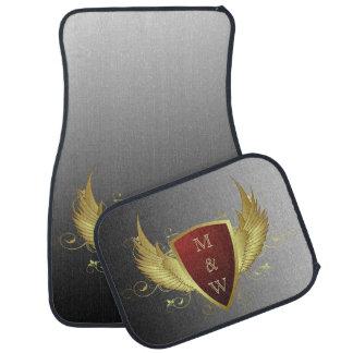 Knopf RETRO GOLD WINGS II + Ihr Monogramm Auto Fussmatte