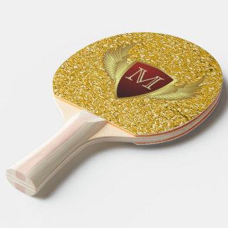 Knopf RETRO GOLD WINGS II + Ihr Monogramm Tischtennis Schläger