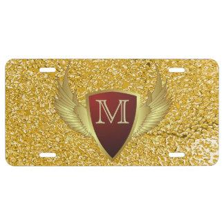 Knopf RETRO GOLD WINGS II + Ihr Monogramm US Nummernschild