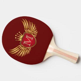 Knopf RETRO GOLDflügel + Ihr Monogramm Tischtennis Schläger