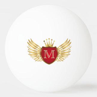 Knopf RETRO GOLDflügel + Ihr Monogramm Tischtennis Ball