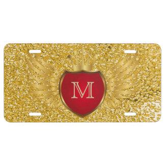 Knopf RETRO GOLDflügel + Ihr Monogramm US Nummernschild