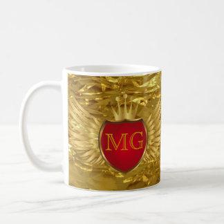 Knopf RETRO GOLDflügel + Ihr Monogramm Kaffee Haferl