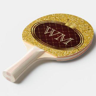 Knopf RETRO GOLDkronen + Ihr Monogramm Tischtennis Schläger