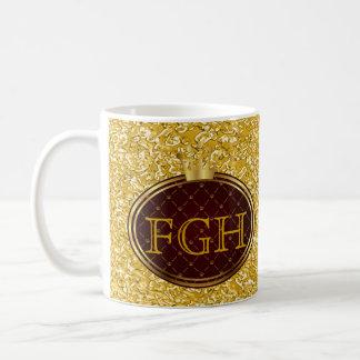 Knopf RETRO GOLDkronen + Ihr Monogramm Kaffee Haferl