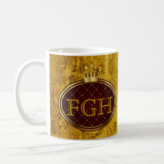 Knopf RETRO GOLDkronen + Ihr Monogramm Kaffee Tasse