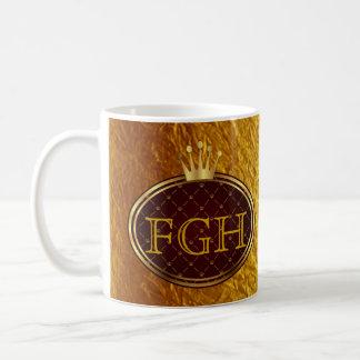 Knopf RETRO GOLDkronen + Ihr Monogramm Kaffee Tassen