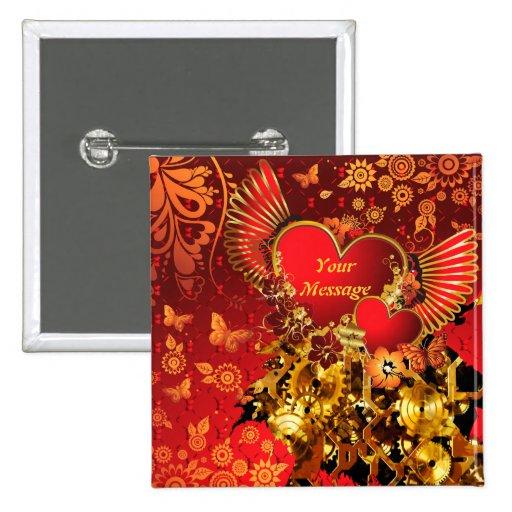 Knopf Steampunk Valentinsgruß-2 Anstecknadelbuttons