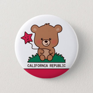 Knopf - süßes Kalifornien Runder Button 5,1 Cm