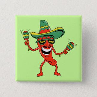 Knopf Tanzen-Pfeffer Cinco Des Mayo Quadratischer Button 5,1 Cm