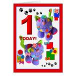 KNÖPFE u. BÖGEN die Kätzchen 1. Geburtstag Grußkarten