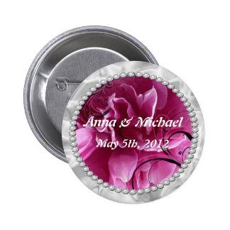 Knöpfen Sie Save the Date mit Perlen u. rosa Button