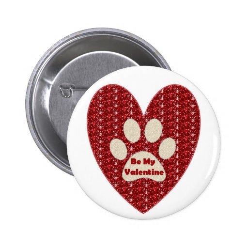 Knöpfen Sie Tatzen-Herz, das rotes Weiß mein Valen Button