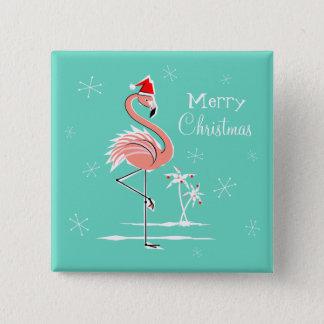 Knopfquadrat der Weihnachtsflamingo-frohen Quadratischer Button 5,1 Cm