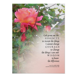Knospen-Druck der Serenity-Gebets-Rosa-Rosen-zwei Poster