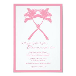 Knoten-Palme-Strand-tropische Hochzeits-modernes 12,7 X 17,8 Cm Einladungskarte