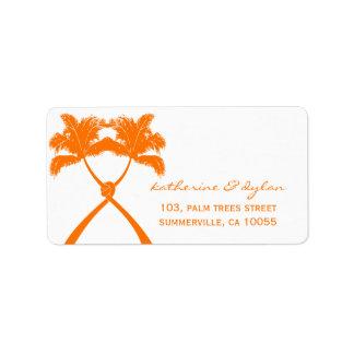 Knoten-Palme-Strand-tropische Hochzeits-modernes Adressaufkleber