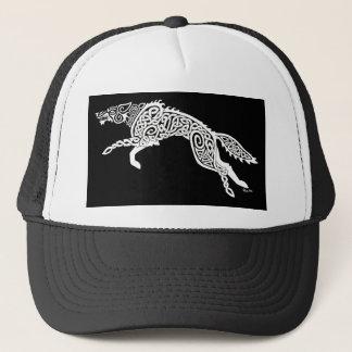 Knüpfarbeit-Wolf, weiß auf Schwarzem Truckerkappe