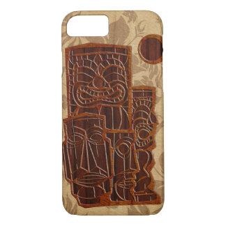 Koa hölzernes Tiki Sun Imitat-Holz-Surfbrett iPhone 8/7 Hülle