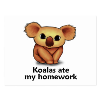 Koala aßen meine Hausaufgaben Postkarte