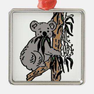 Koala-Essen Quadratisches Silberfarbenes Ornament