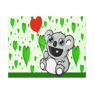 Koala-Herz-Ballon Leinwanddruck