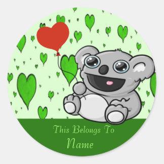 Koala-Herz-Ballon Runder Aufkleber