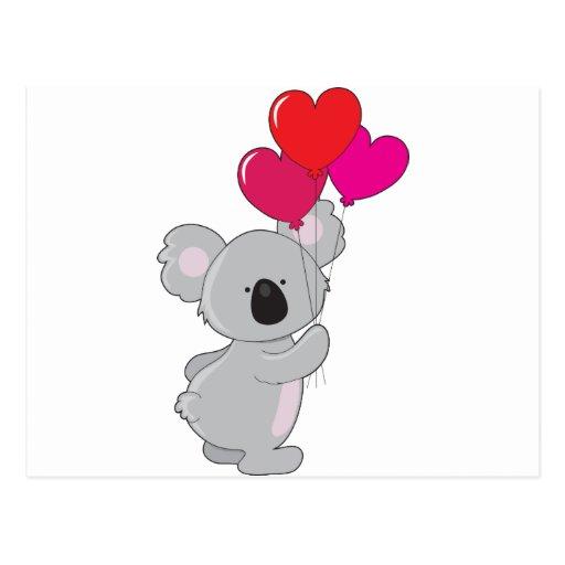 Koala-Herz-Ballone Postkarte