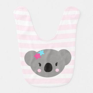 Koala-Mädchenbabyschellfischrosastreifen und Babylätzchen