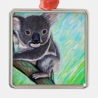 Koala Quadratisches Silberfarbenes Ornament