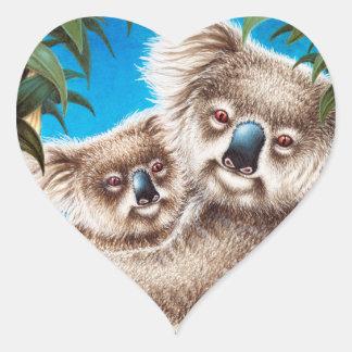 Koala-und Baby-Aufkleber Herz-Aufkleber
