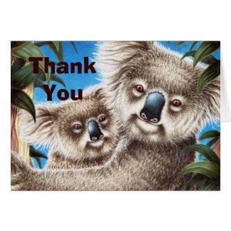 Koala und Baby danken Ihnen Anmerkungs-Karte Karte