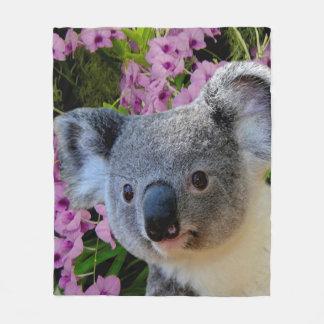 Koala und Orchideen Fleecedecke