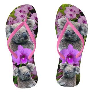 Koala und Orchideen Flip Flops